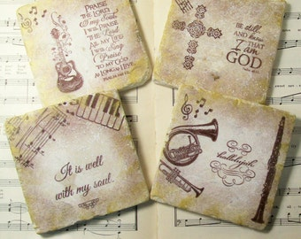 Musical Art Coasters, Music and Praise Coasters, Set of 4, Praise and Thanksgiving Gift Coasters Housewarming Gift, Religious Gift