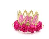 First Birthday crown cursive ONE || mini Sienna gold || fuchsia flowers lace crown headband ||photography prop
