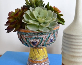 Faux Succulents in Vintage Mid-Century Italian Planter