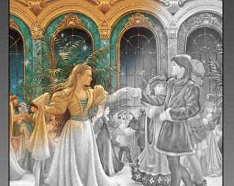 Twelve Dancing Princesses 24-image Grayscale Coloring PDF