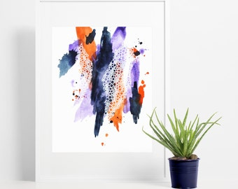 Brush Strokes Abstract Art Print / Navy Blue, Purple & Orange Watercolor Painting / Modern Wall Art Home Decor