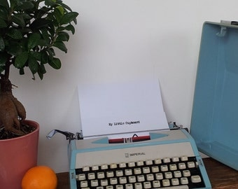 Working Typewriter Japanese Imperial With Case 1950s or 1960s Duck Egg Blue