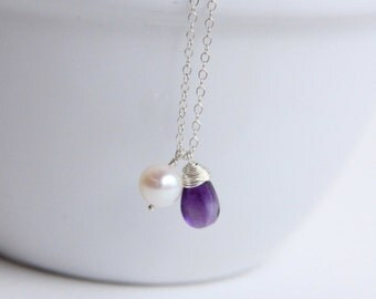 Purple Amethyst Necklace, Gemstone Jewelry,  February Birthstone, 14k gold filled necklace
