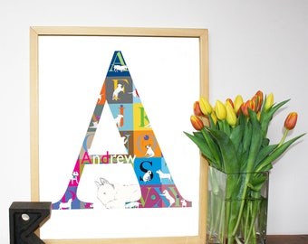 Personalized English Bull Terrier Alphabet Print A3 size Custom print