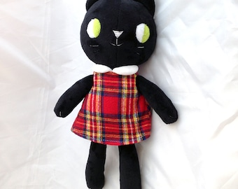 black kitty cat rag doll stuffed animal with dress, retro inspired - soft, washable, ready to ship