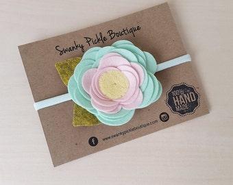 Felt Flower Headband,Mint Pink Yellow,Mint Nylon Headband,Felt Rose Headband,Newborn Headband,Toddler Girls,Baby Headband,Easter,Spring