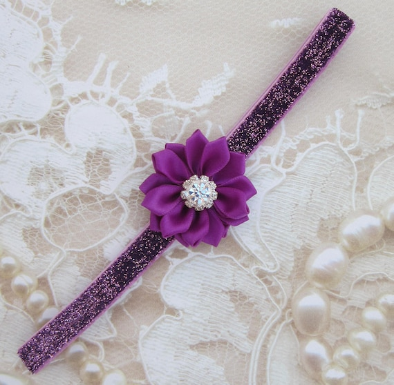 Plum Glitter Elastic with a Plum Rhinestone Satin Ribbon Flower for newborns, photo shoots, plum, hairband, bebe foto, Lil Miss Sweet Pea