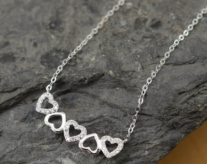 Heart Necklace, Heart Pendant, 925 Sterling Silver, Crystal Necklace Pendant, Bridesmaid Gift, Bridesmaid Necklace
