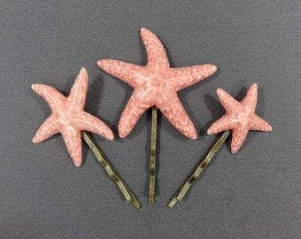Starfish Hair Pin Trio Porcelain Sugar Starfish. Starfish Jewelry. Mermaid Costume. Mermaid Hair. Barrettes and Clips. Beach Wedding.