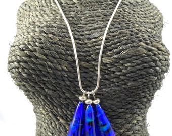 Swirling blue lampwork glass bead pendant