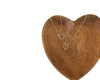 Best Friend Silver Heart Necklaces - Set of 2 Open Heart Charm Necklace - Rose Gold Heart Outline -  Yellow Gold Heart Link Necklace