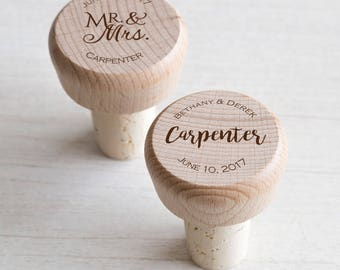 100 Personalized Wine Stoppers, Personalized Wine Corks, Personalized Wedding Favors, Personalized Shower Favors