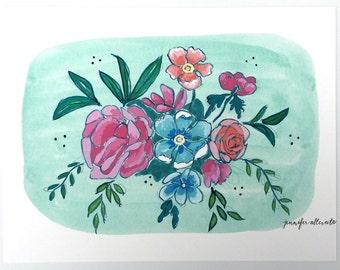 Modern floral bouquet illustration art print  - Mint