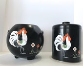 Vintage Ransburg ROOSTER Black Red Hand Painted Kitchen Retro matching large tin CANISTER w/ lid (Flour Sugar) Cookie Jar