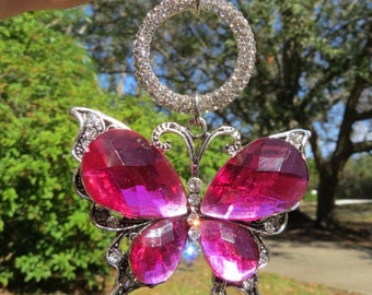 BRIGHTEST PINK BUTTERFLY Tree Jewelry Christmas Ornament  Jewelry Hot Pink