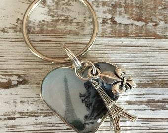Paris Keychain, Eiffel Tower Paris Keychain, I love Paris Heart Chic, Special Gift, Paris Inspired, Silver Heart Eiffel Tower Keychain