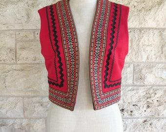 Folk Vest Red Mexican Cropped Vest Medium Embroidered Vest Vintage 70's Ethnic Boho Top Nardis of Dallas