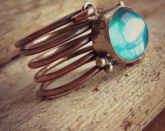 Copper Ring - Aqua Dichroic - Fashion Jewelry - Wire Wrapped Ring - Above The Knuckle Ring