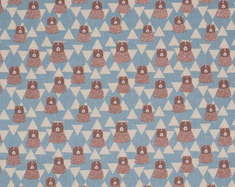 SALE | Japanese fabric with bears by Kokka in blue lightweight canvas - 1/2 YD