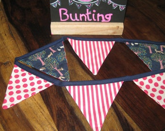 Pink, spots and stripes blue woodland animal bunting