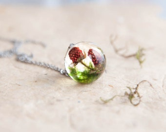 Wild Stawberry and Moss Necklace - Real fruit vegan jewelry - unusual berries gift - sweet summer for vegetarian and nature lover