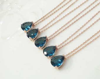 Bridesmaid gifts - Set of 7, 8, 9 - blue necklace, montana sapphire necklace, deep blue necklace, Gorgeous Drop,stone in bezel