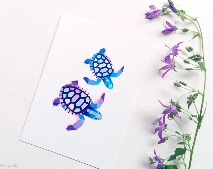 Sea turtle illustration, Turtle print, Australian wildlife art, Geometric turtle, Purple blue sea, Ocean art, Sea creatures, Turtle wall art
