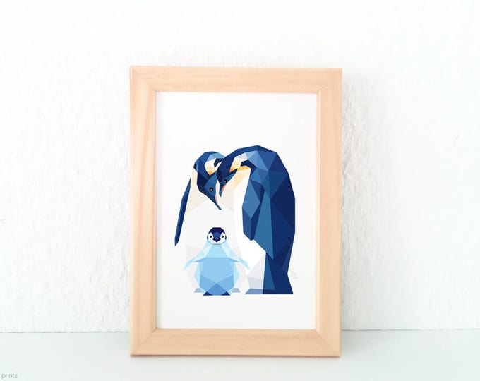 Penguin print, Penguin baby, Nursery art, Animal family art, Baby nursery decor, Geometric print, Baby animals, Antarctic, Cute baby room
