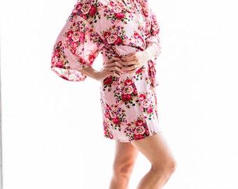 Pink Floral Robe - Cotton,Bridesmaid Gift,Bridesmaid Robe,Wedding Robe,Maternity Robe,Bridal Shower Gift, Children's/Plus Size Robe,Proposal