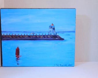"Two Harbors Lighthouse  - original Acrylic on canvas painting by Julie Miscera   8""x10"""