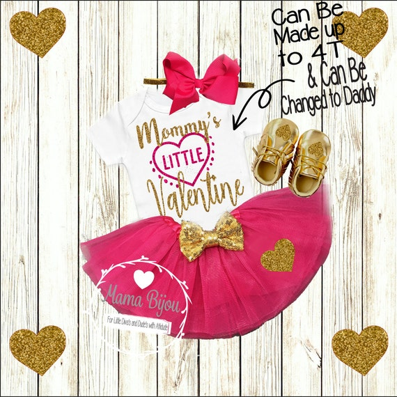 Valentines Day Outfit Baby Girl, Mommy's Valentine, Daddy's Valentine