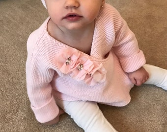 Pink Knitted Baby Girl  Wrap Sweater Infant Baby Girl Sweater