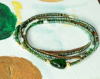 Tsavorite Bracelet, Beaded Bracelet, Stretch Bracelet, Wrap Bracelet, Seed Bead Bracelet, Beaded Wrap Bracelet, Stack Bracelets, Bohemian