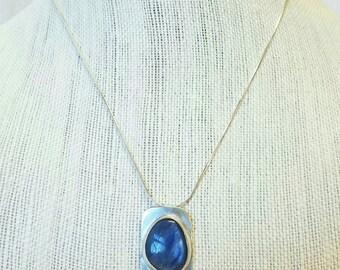 Sky Blue Kyanite Pendant. Handmade Artisan Pendant. Tarnish Resist 935 Sterling Silver. Ready to Ship - Free Shipping.