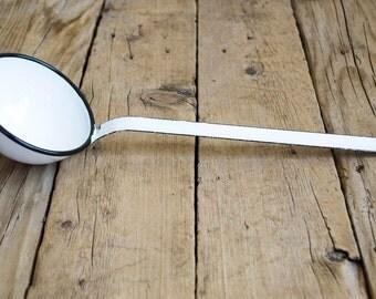 Vintage Enamel Ladle in White, Eastern Europe Enamelware, Rustic Home Decor