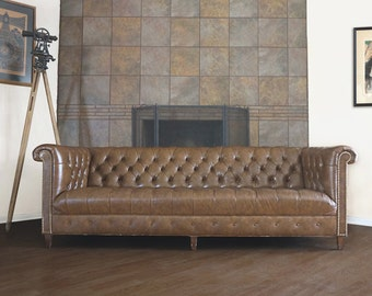 Vintage Leather Chesterfield Tufted Sofa by Schafer Bros
