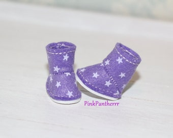 LATI YELLOW and PUKIFEE boots ~ Purple with white stars ~ Only 1 pair In Stock