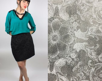 Vintage Leather Skirt/ 90's High Waist Skirt /Floral Etched Genuine Leather By Newport News