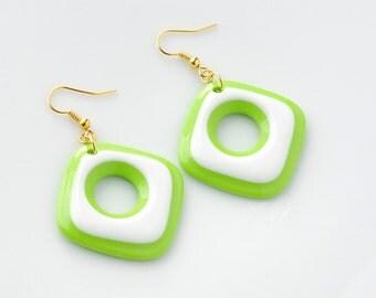 Mod earrings, 60s mod square earrings, White Green earrings, dangle earrings, Mod drop earrings, Mad Men style earrings