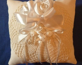 "Ring Bearer's Pillow- White Cotton And Polyester Pillow-6"" by 7 "" White silk and Satin flowers & Ribbon and Vintage Crocheted Doily"