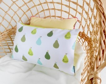 Baby pillow case   Decorative pillow   Moses basket pillow green pears   designer pillow case with pillow insert   crib scandinavian cushion