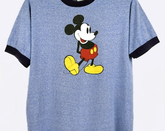 Vintage 80s Mickey Mouse Ringer T-shirt Heather Blue, Size L - XL, Disney World