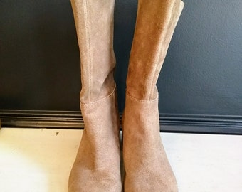 Vintage inspired Booties Taupe Grey Suede Pull On Mid Calf Low Heel Boots