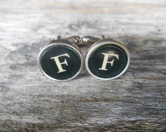 "Vintage Typewriter Key Cufflinks 'F F' The Letter F, Initial F, Black and Silver 5/8"" (15mm) Steampunk, Writer, Literary, Wedding, Prom"