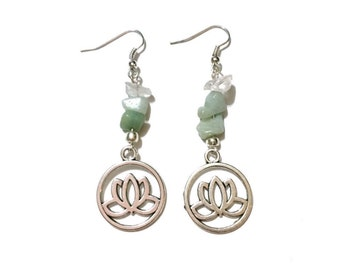 Lotus Earrings - Silver - Quartz & Green Aventurine - Healing Crystal Earrings
