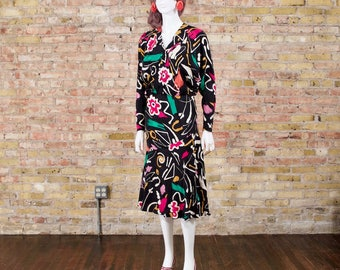 brush strokes 80s silk dress / abstract dress / midi dress / plunging neckline / flutter hem / bias cut silk / long sleeve midi / silk midi
