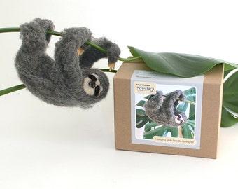 Needle Felting Kit Beginner Wool Hanging Sloth with Tools