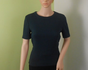 Woman's  Dark Green Sweater -  1950s Short sleeve - Size Medium - Zip Back Free US Shipping
