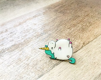 Fat Unicorn Fashion Pin hand drawn on acrylic with brooch style or tie tack pin