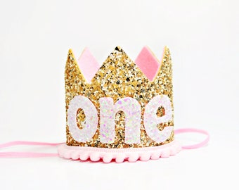 Gold Birthday Crown    Pink Birthday Crown    Girl Birthday Crown    Girl Crown    Gold Birthday Hat    Girl Cake Smash   